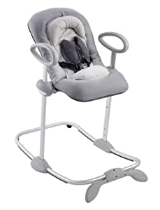 BEABA Up and Down Portable Baby Rocker | 4 Height Levels and 3 Reclining Positions with One Click| Soft Padding Seat | Gray
