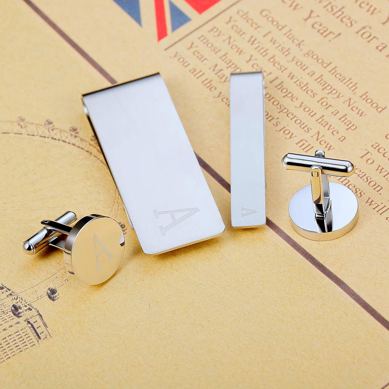 Yadoca Conjunto de Gemelos Clip de Corbata Clips de Dinero para Hombres Alfabeto de Iniciales Grabadas AZ Personalizado Boda Negocio Regalo