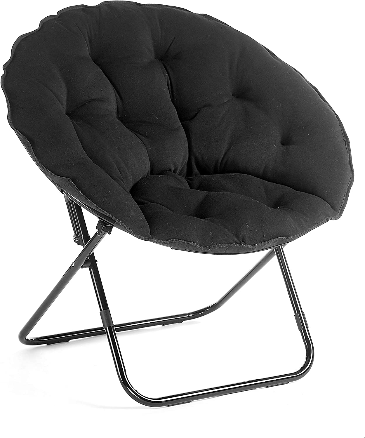 "Urban Shop Folding Saucer Chair with Metal Frame, Black Jersey, 30"" Frame"