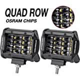 LED Pods, Offroad Town 2pcs 4'' QUAD Row LED Light Bar OSRAM Work Light Flood Beam Off road Driving Light Waterproof Fog lights LED Cubes for Truck Jeep Boat Car