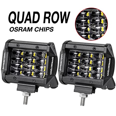 Amazon led pods offroadtown 2pcs 4 quad row led light bar led pods offroadtown 2pcs 4 quad row led light bar osram work light asfbconference2016 Choice Image