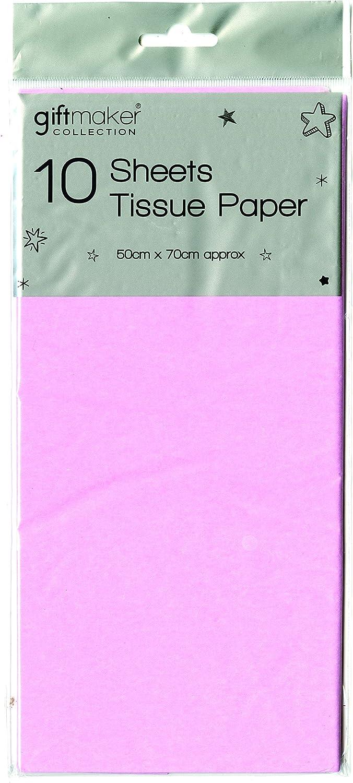 10 hojas de papel de seda de colores para regalo, cesta de regalo, sin ácidos, 50 x 70 cm rosa pastel