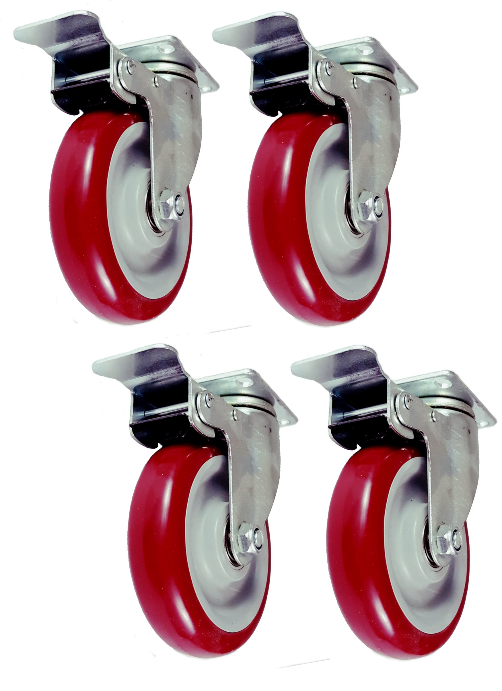 Online Best Service Caster Wheels Swivel Plate w/ Brake Casters On Red Polyurethane Wheels (5 inch with Brake)