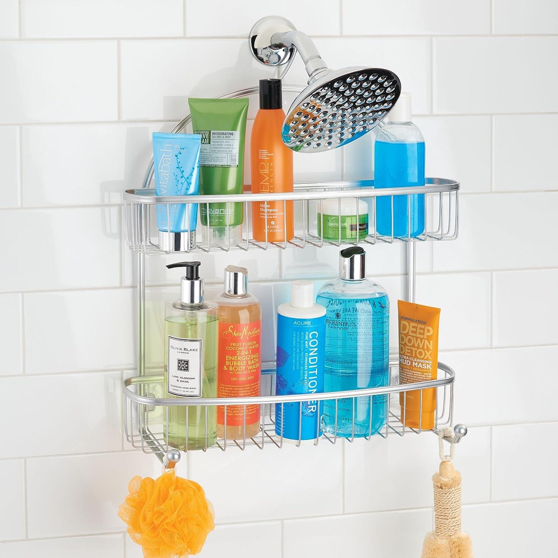 Amazon.com: mDesign Extra Wide Bathroom Tub & Shower Caddy, Hanging ...