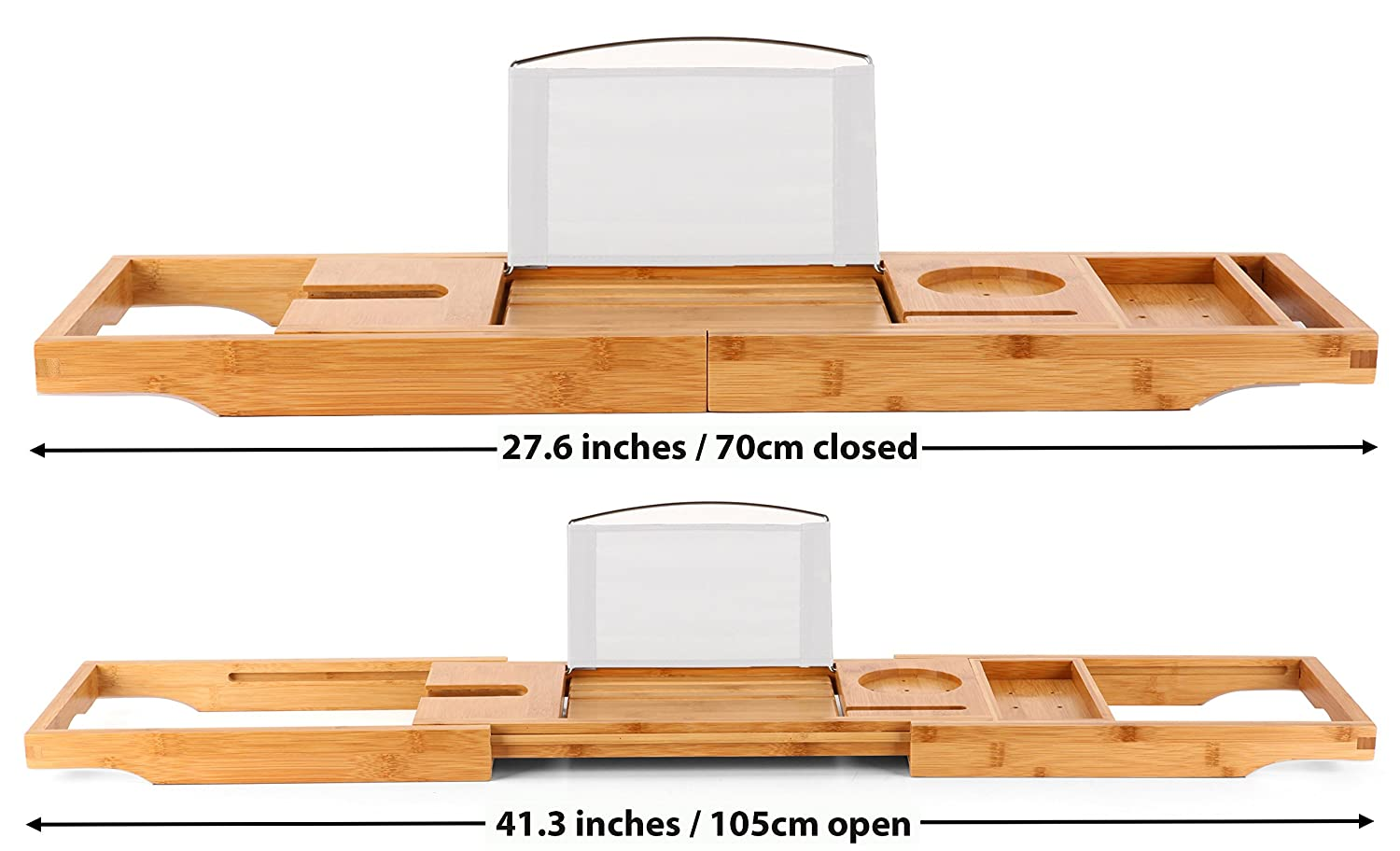 Luxury Bamboo Bathtub Caddy / Tray with Extendable Arms - Includes ...