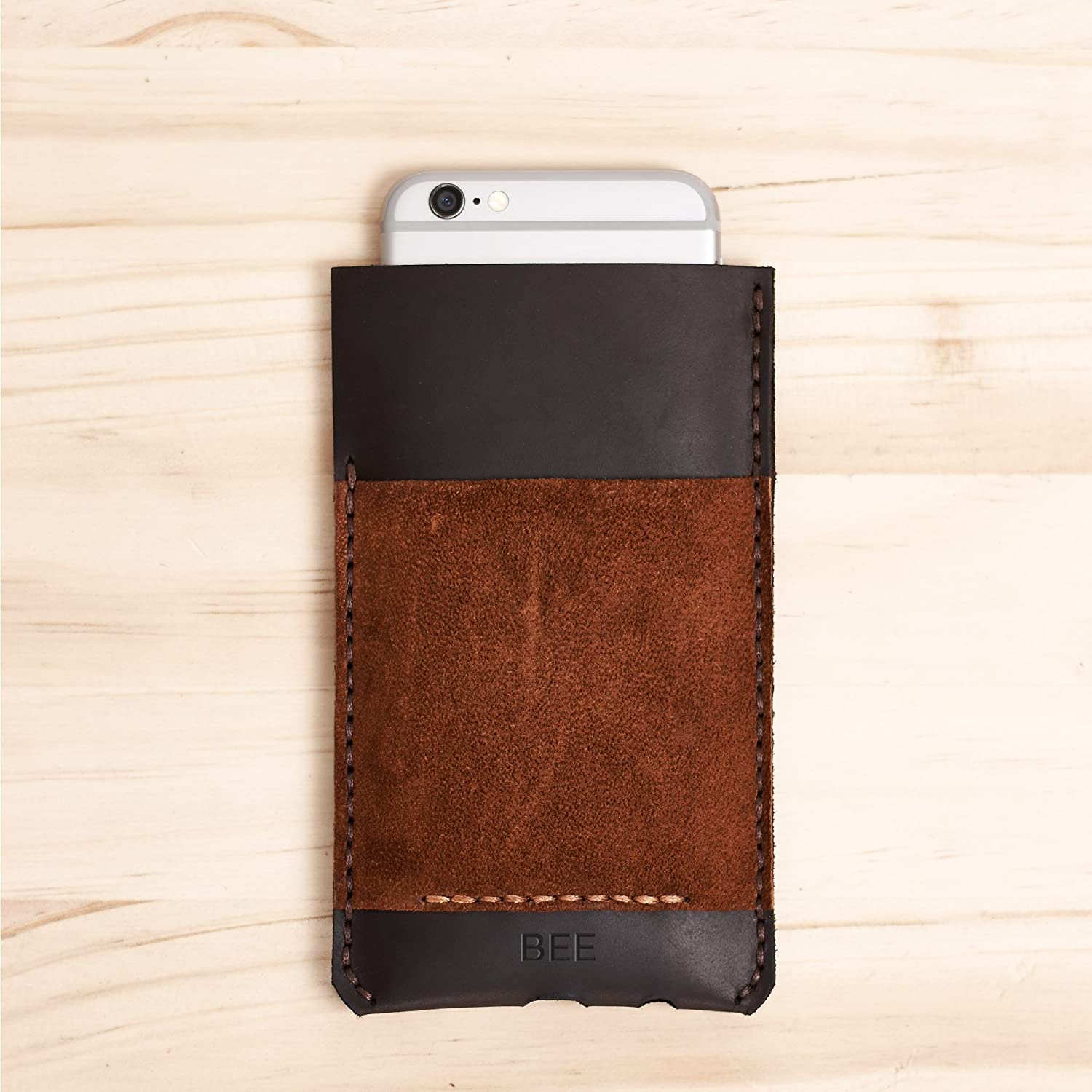 Brown & Tan Leather iPhone Case. iPhone 8, 8 Plus and iPhone X Slim Wallet Case for. Phone Card holder Sleeve. Mens Custom Monogram Gift