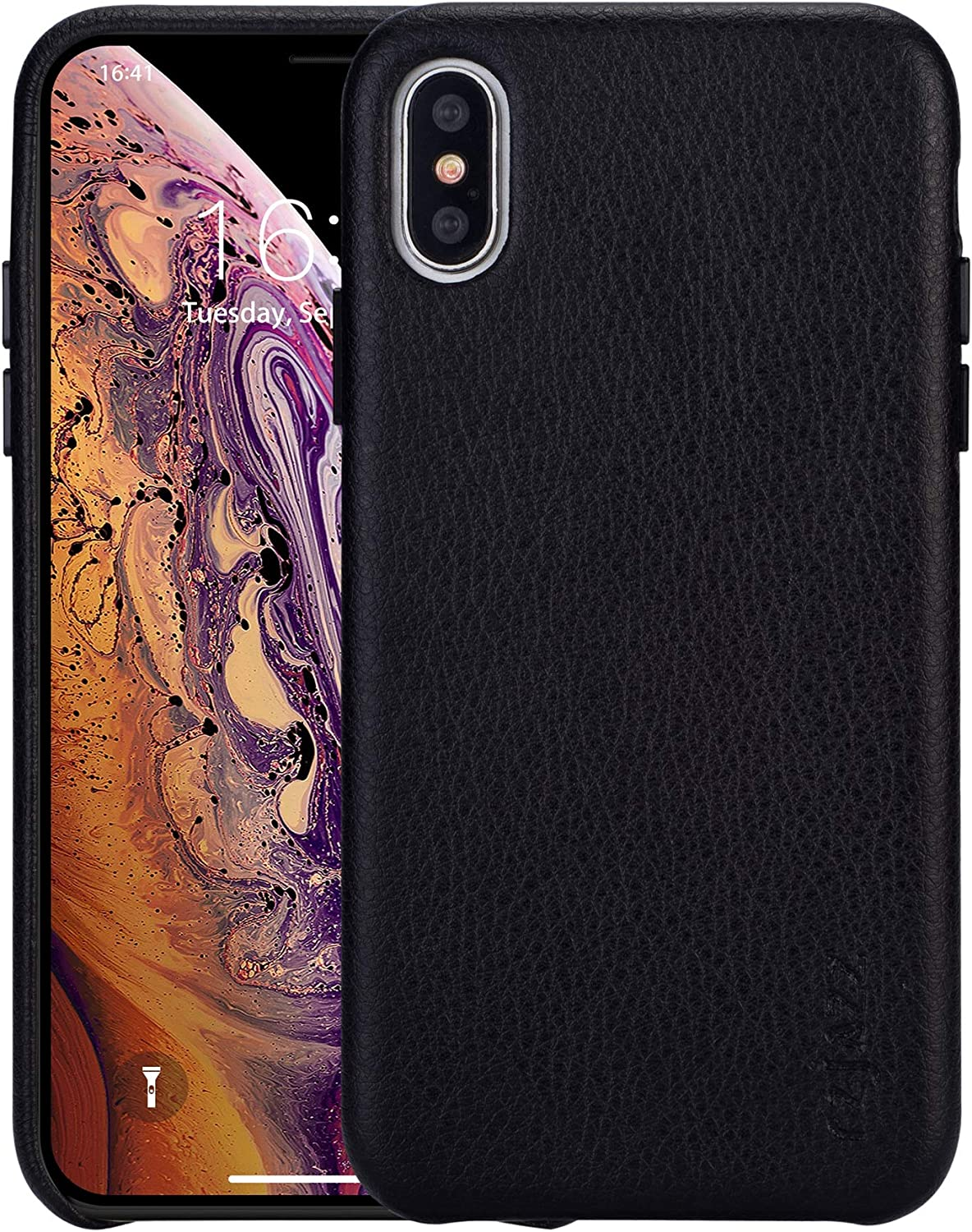 rejazz iPhone Xs max Case Anti-Scratch iPhone Xs max Cover Genuine Leather Apple iPhone Cases for iPhone Xs max (6.5 Inch)(Black)