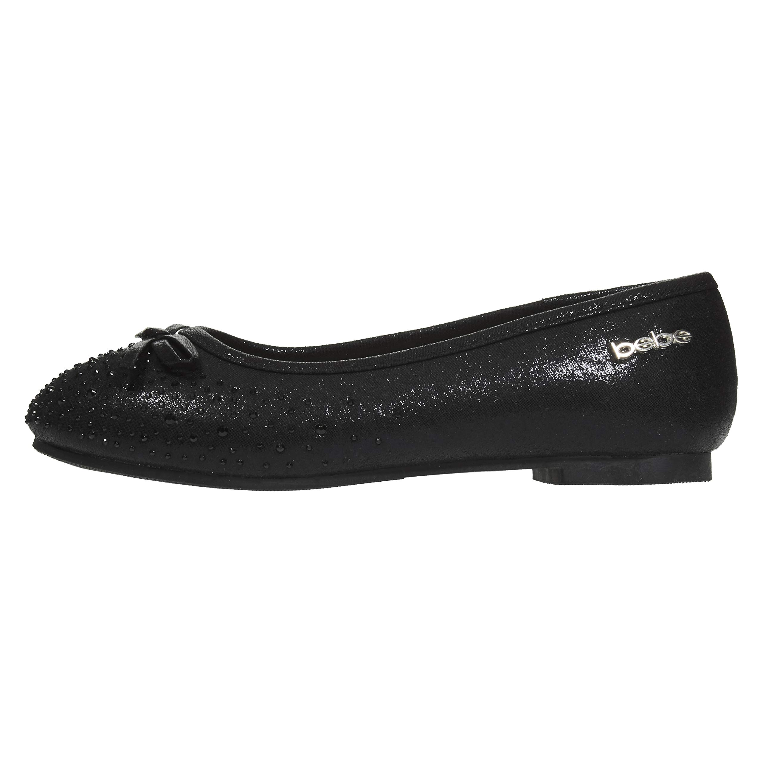 bebe Girls Ballet Flats Size 1 Round Toe Microsuede Perforated Laser Cut with Bow and Rhinestones Slip-On Shoes Flexible PU Leather Black