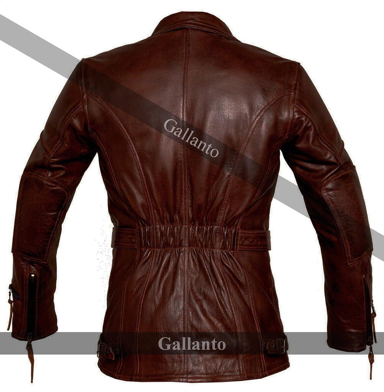 47eee53a950 Gallanto 3/4 Vintage Red Distressed Eddie Mens Motorcycle Biker Long Leather  Jacket Wine at Amazon Men's Clothing store: