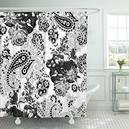 Emvency Fabric Shower Curtain Curtains With Hooks Paisley Black And White Floral Pattern Abstract Beautiful Blossom