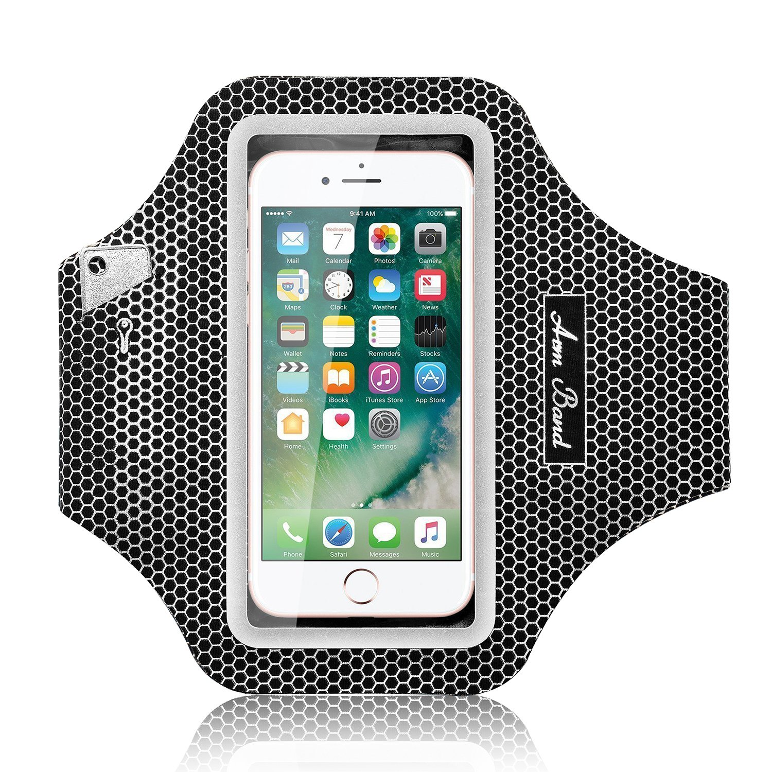 Armband for iPhone 7 8 Plus, Alfort Waterproof Running-Armband with Keychain and Adjustable Strap, for iPhone X 6 6s, Samsung S9 S8 Plus S7 Edge, LG, Sony (6 inch, Black with Mesh)