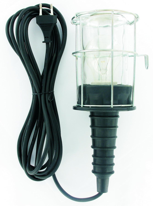 schwarz Brennenstuhl Handleuchte Werkstatt-Arbeitsleuchte aus Hartgummi mit stabilem Schutzkorb 60 W, 136 mm Durchmesser, 10m Kabel Farbe