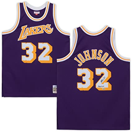 """44584a87dec Magic Johnson Los Angeles Lakers Autographed Purple Mitchell & Ness Swing  Man Jersey with""""Showtime"""""""