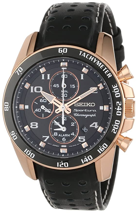 "Seiko Men's SNAE80 ""Sportura"" Rose Gold Ion-Plated Stainless Steel and Black Leather Watch Review"