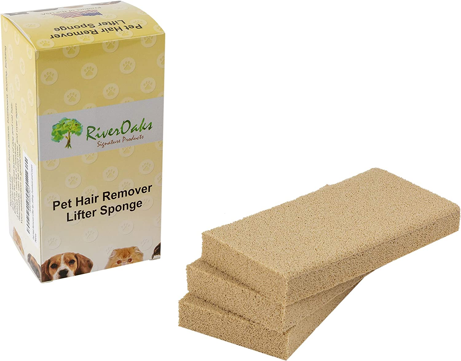 Pet Hair Remover Lifter Sponge - (3-Pack) Removes Cat Dog Hair from Bedding, Furniture Carpet