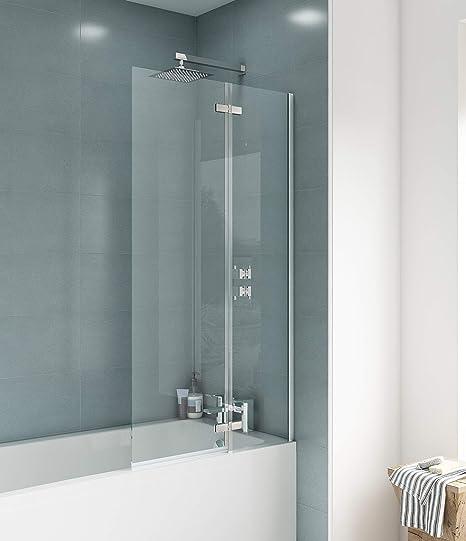 Mampara de baño de diseño recto de Premier ERSS1, modelo Ella, cromada: Amazon.es: Bricolaje y herramientas