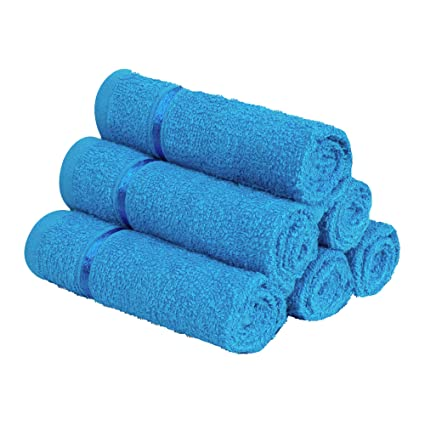 Story@Home 100% Cotton Soft Towel Set of 6 Pieces, 450 GSM - 6 Face Towels - Blue