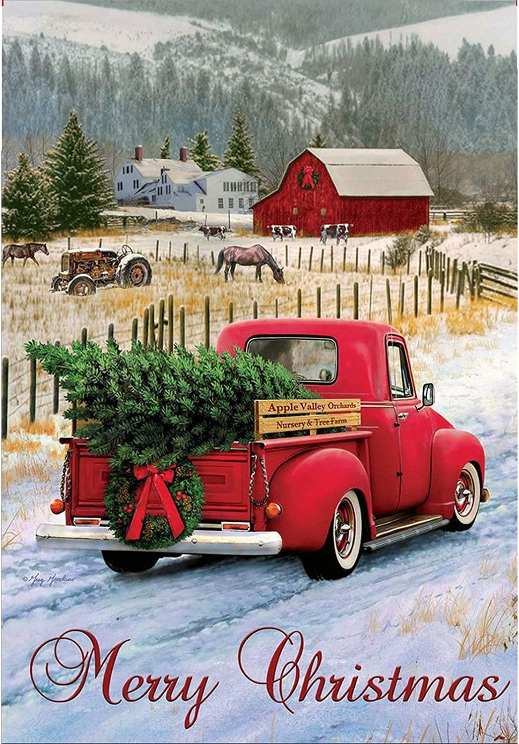 Merry Christmas Garden Flag Red Truck Xmas Pine Tree 12.5 x 18 Inch Double Sided Xmas Pickup Winter House Farmhouse Rustic Quote Burlap Garden Yard Décor Banner Outside Decorative Vintage Garden Flags