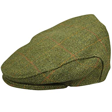 a639a959260 Green Belt New Mens Authentic Tweed Flat Cap Country Wool Shooting Hat  Teflon Coated Peaked  Amazon.co.uk  Clothing