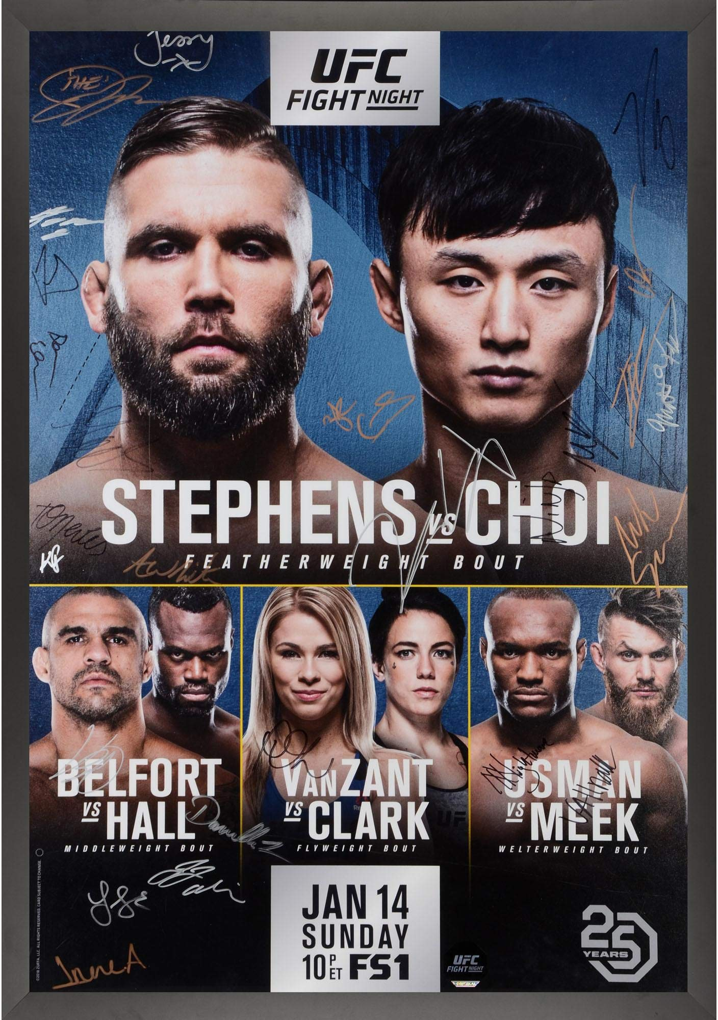 "UFC Fight Night 124 Stephens vs. Choi Framed Autographed 27"" x 39"" 22 Signature Fight Poster Fanatics Authentic Certified"