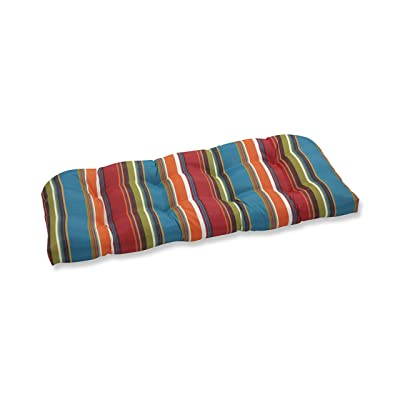 Pillow Perfect Outdoor Westport Wicker Loveseat Cushion, Teal: Home & Kitchen
