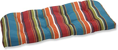 Pillow Perfect Outdoor/Indoor Westport Teal Tufted Loveseat Cushion