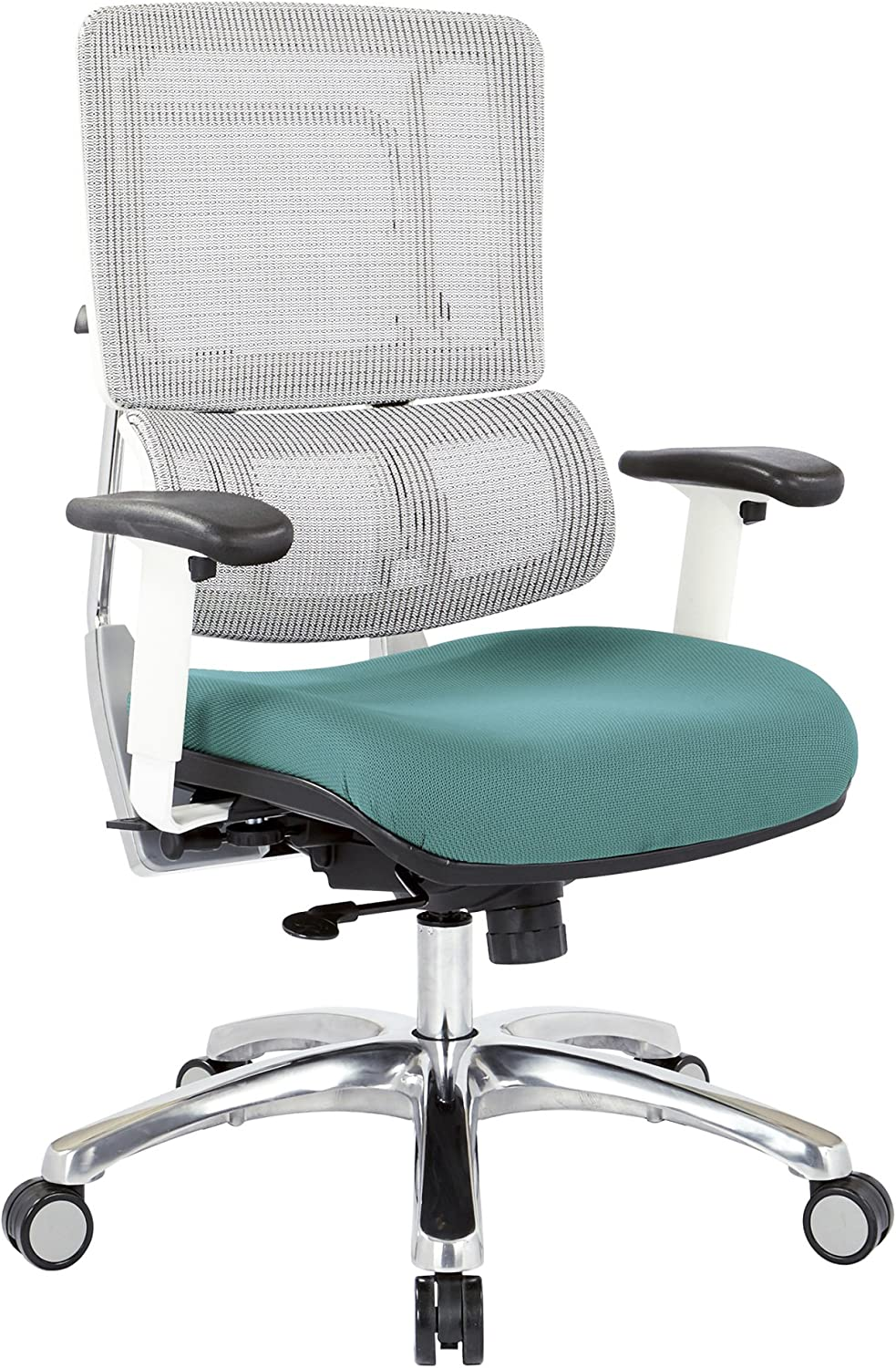 Office Star Breathable White Vertical Mesh Back and Padded Steel Mesh Seat Managers Chair with Adjustable Arms and Polished Aluminum Accents, Blue Seat