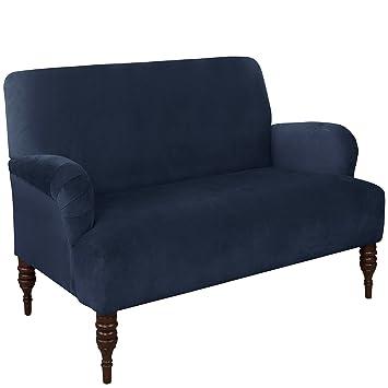 Skyline Furniture Settee In Velvet Navy, Blue