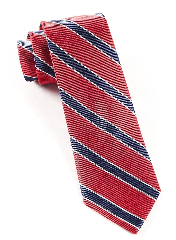 Hagora Mens Red And Navy Blue Plaid Royal Uniform Classic Woven Silk Tie