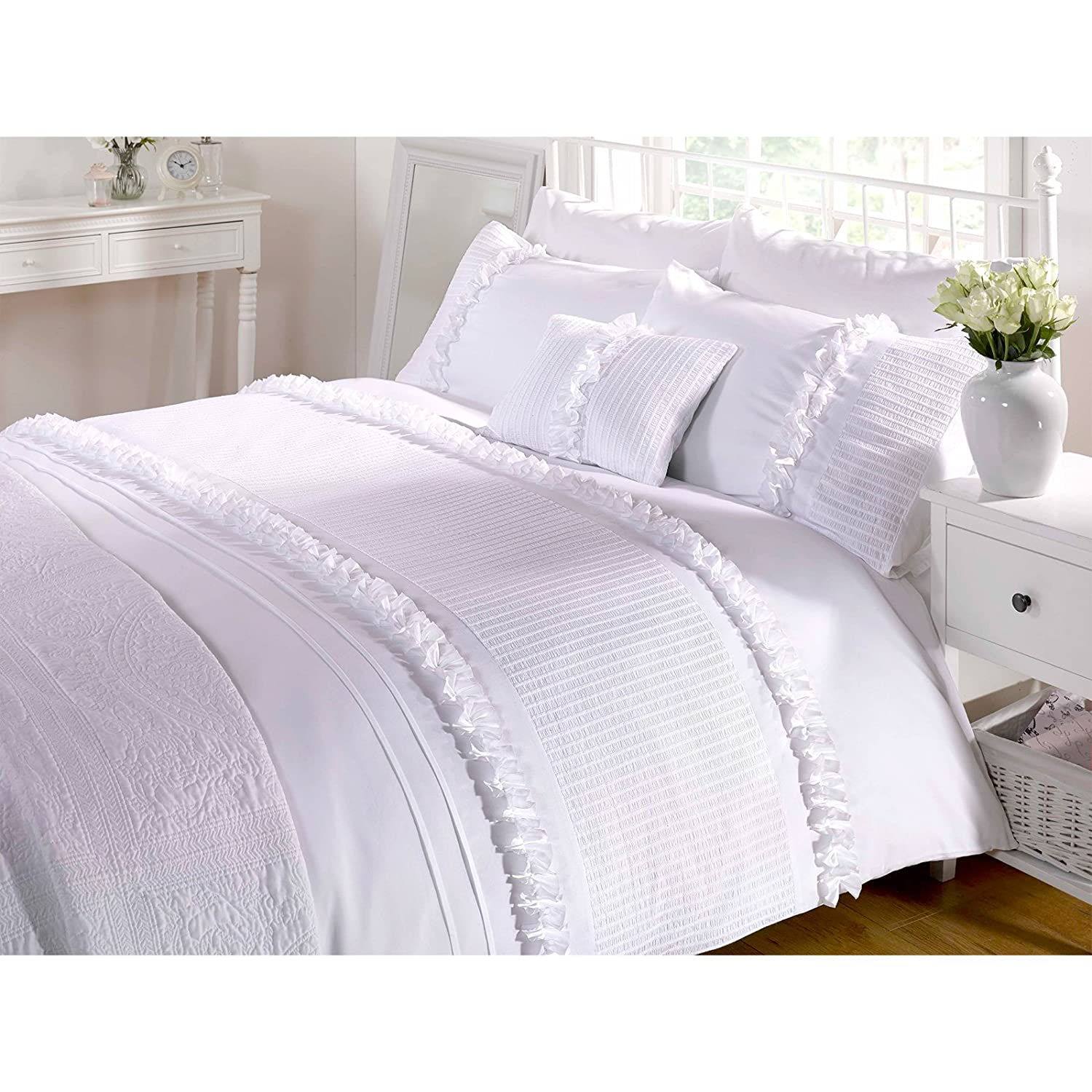 bedding ruffle bed set white sets lace itm cover girls skirt princess duvet