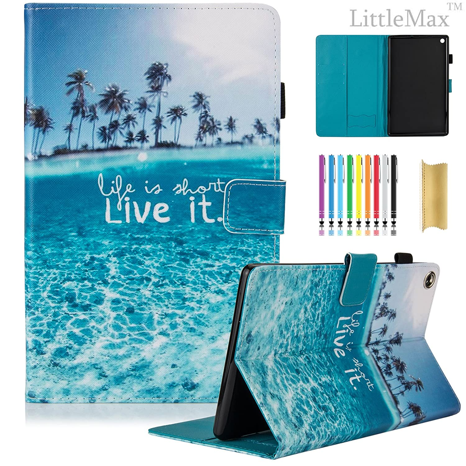 Kindle Fire HD 8 Case,LittleMax PU Leather Case Flip Stand Protective Auto Wake/Sleep Cover for Amazon Kindle Fire HD 8 7th Gen 2017 Release & 6th Gen Release 2016 with Free Stylus-04 Beach