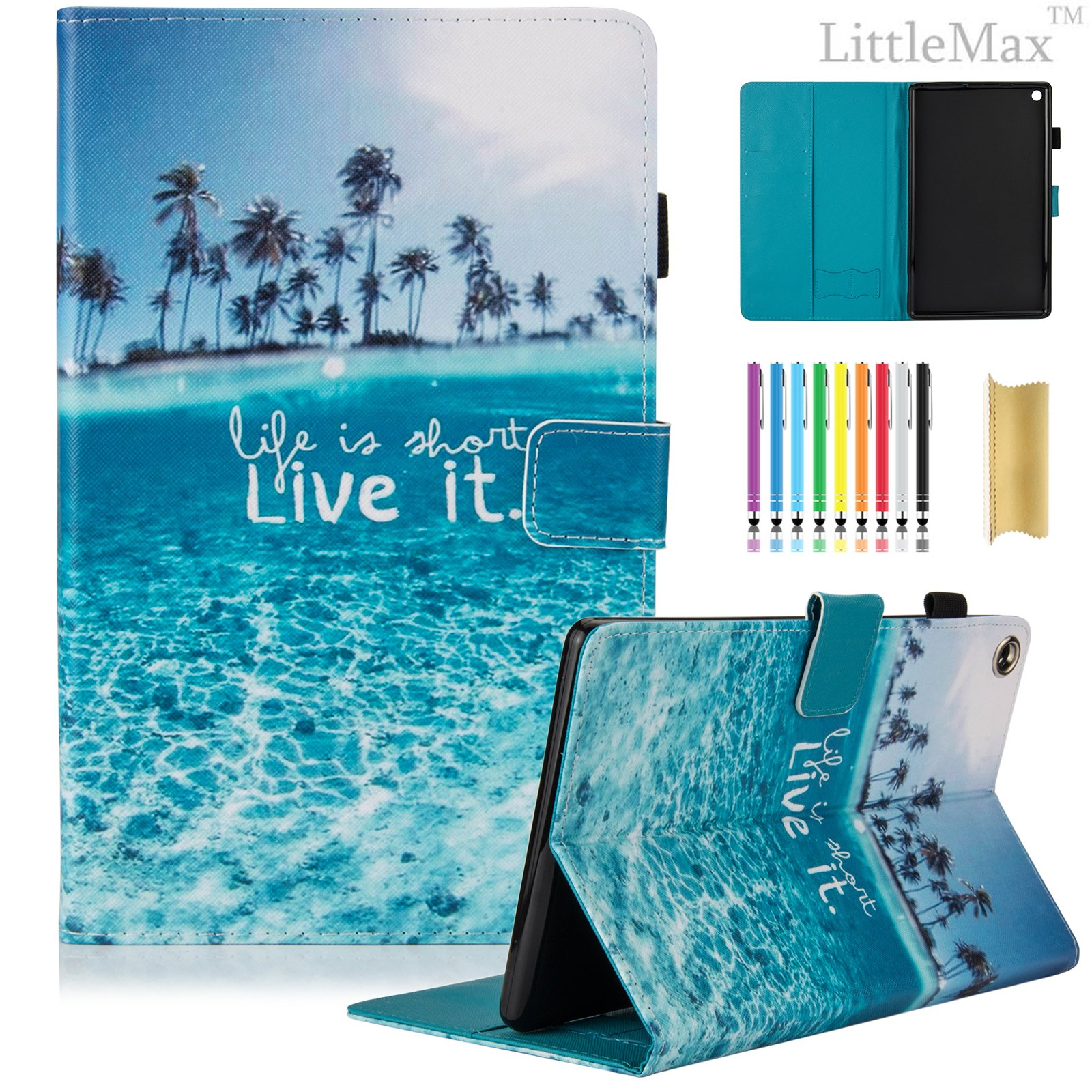 Kindle Fire HD 8 Case,LittleMax PU Leather Case Flip Stand Protective Auto Wake/Sleep Cover for Amazon Kindle Fire HD 8 7th Gen 2017 Release & 6th Gen Release 2016 with Free Stylus-04 Beach by LittleMax
