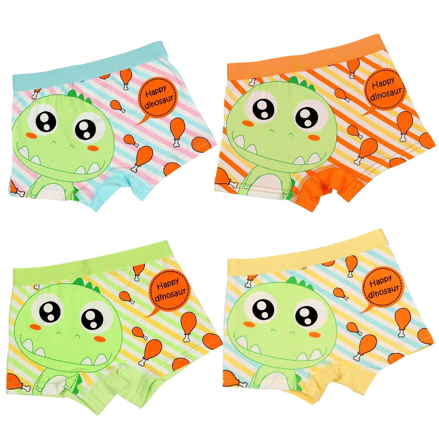 BOOPH Little Boys Underwear, Cotton Dinosaur Baby Toddler Boxer Briefs Underpant for Boy 4-6 Years (Pack of 4) by BOOPH (Image #3)