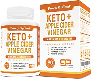 Premium Keto Pills + Apple Cider Vinegar Capsules with Mother - Utilize Fat for Energy w/Ketosis, Boost Energy & Focus, Manage Cravings, Detox, Metabolism Support - BHB Keto Diet Pills for Women, Men