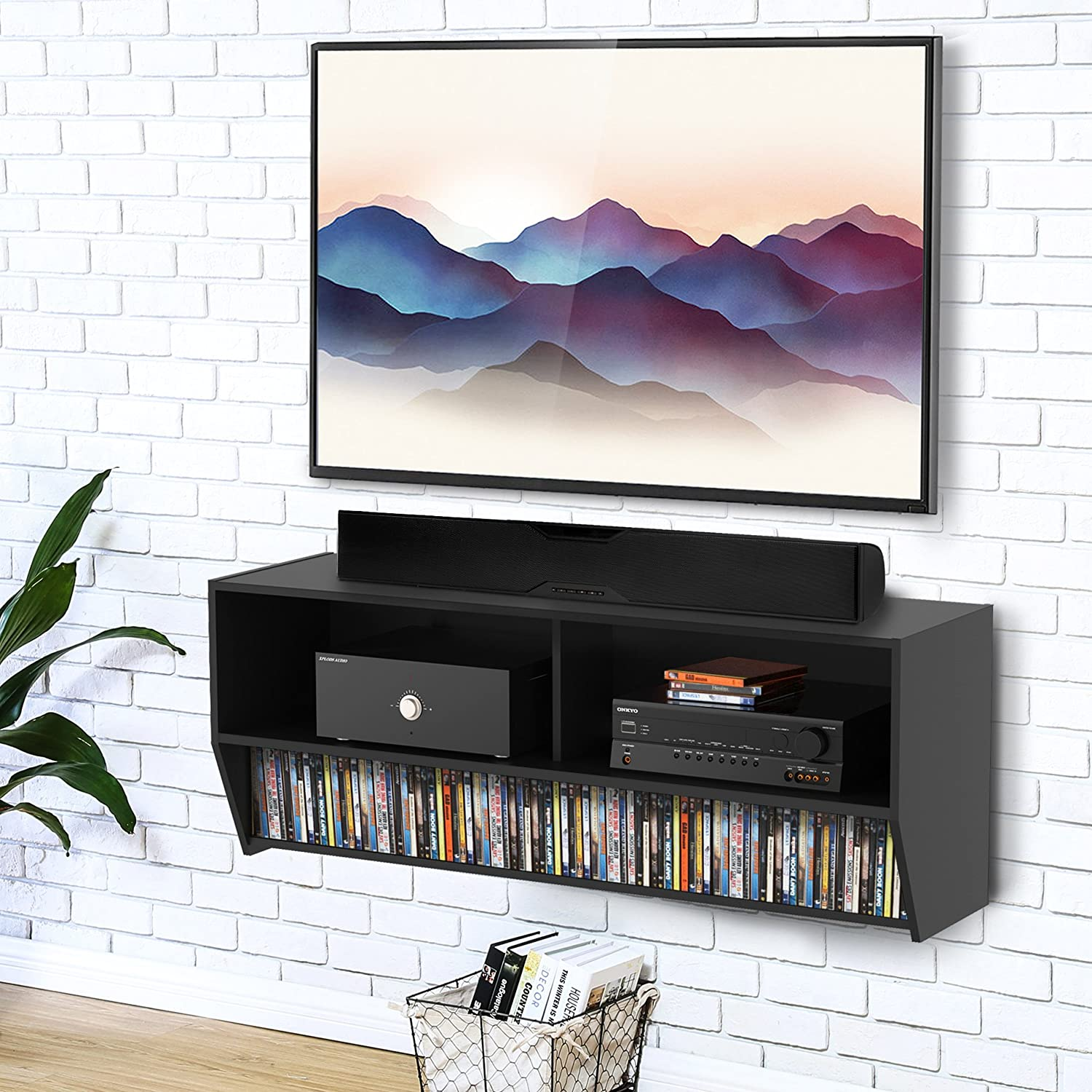 Fitueyes Floating TV Stand Wall Mounted Audio Video Console Shelf Wood Black for Xbox one/PS4/vizio/Sumsung/sony TV DS210302WB