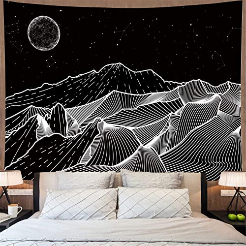 Amonercvita Mountain Tapestry Moon Constellations Tapestry Starry Night Sky Tapestry Black and White Stars Tapestry Wall Hanging for Living Room X-Large, Moon Line Mountain