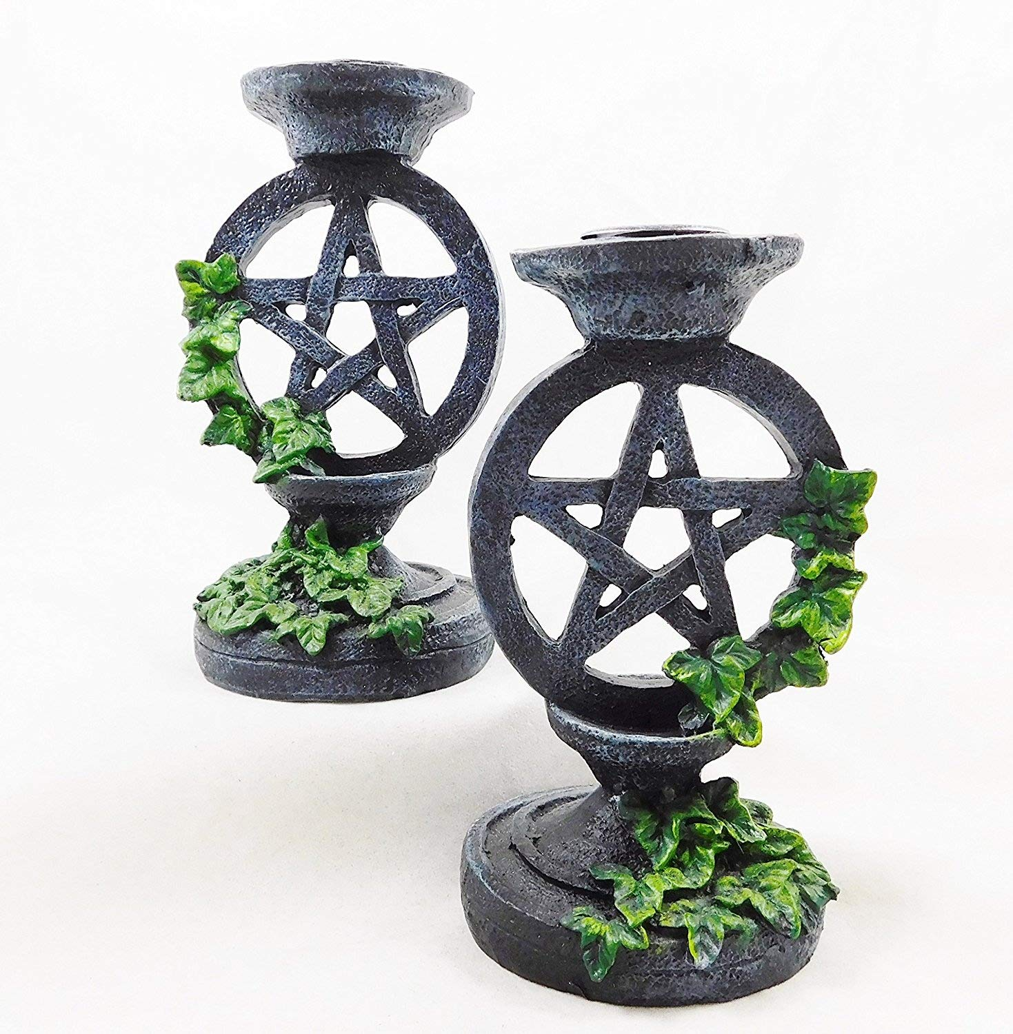 Wiccan Gothic Pentagram Candlesticks Set 2 Candle Holders Wicca Witchcraft | 5177 seven secrets