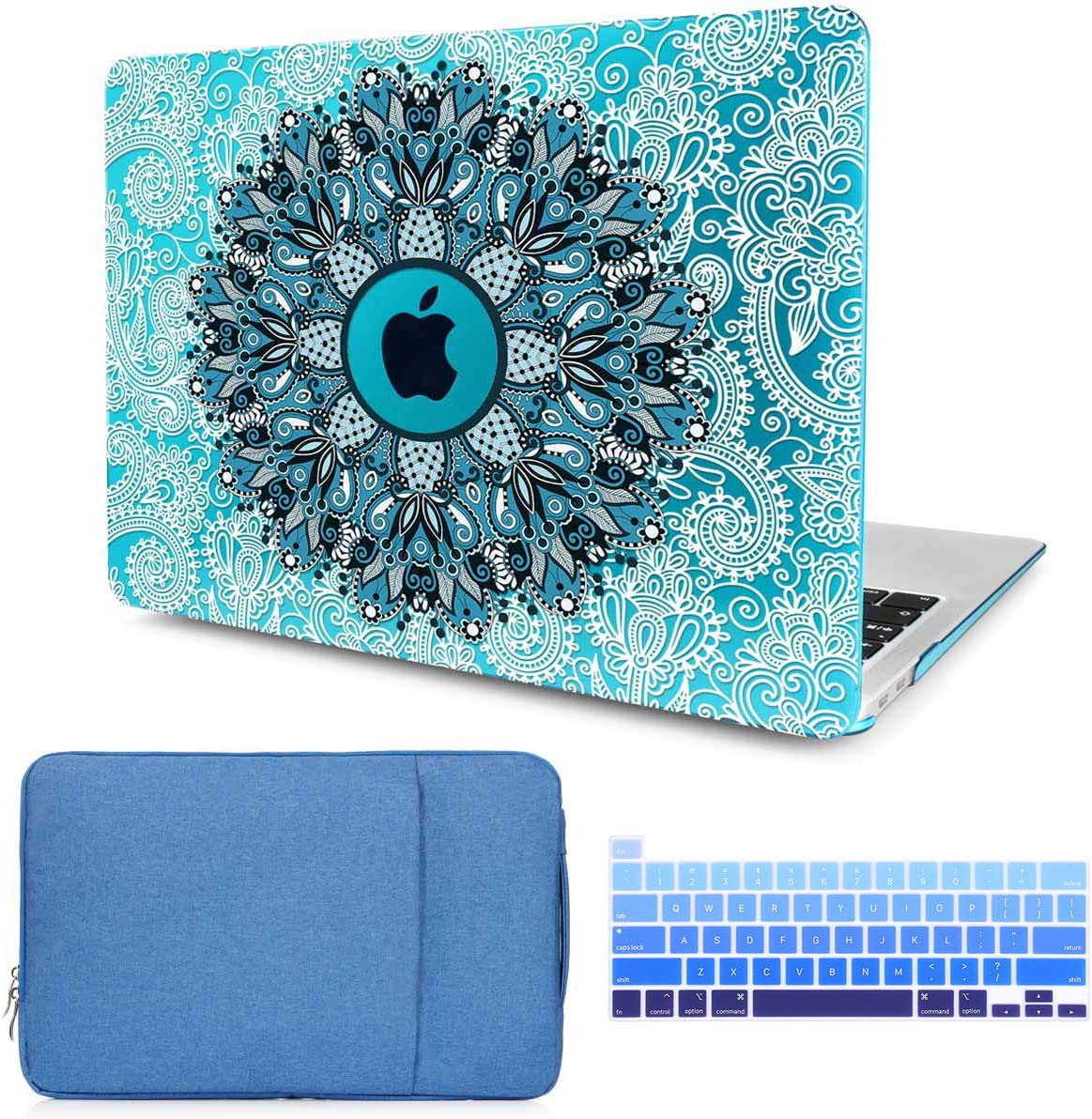 CiSoo MacBook Air 13 Inch Case Plastic Hard Shell Cover with Keyboard Cover and Laptop Sleeve for 2020 New MacBook Air 13 with Touch ID Model A2179, 3 in 1 Bundle