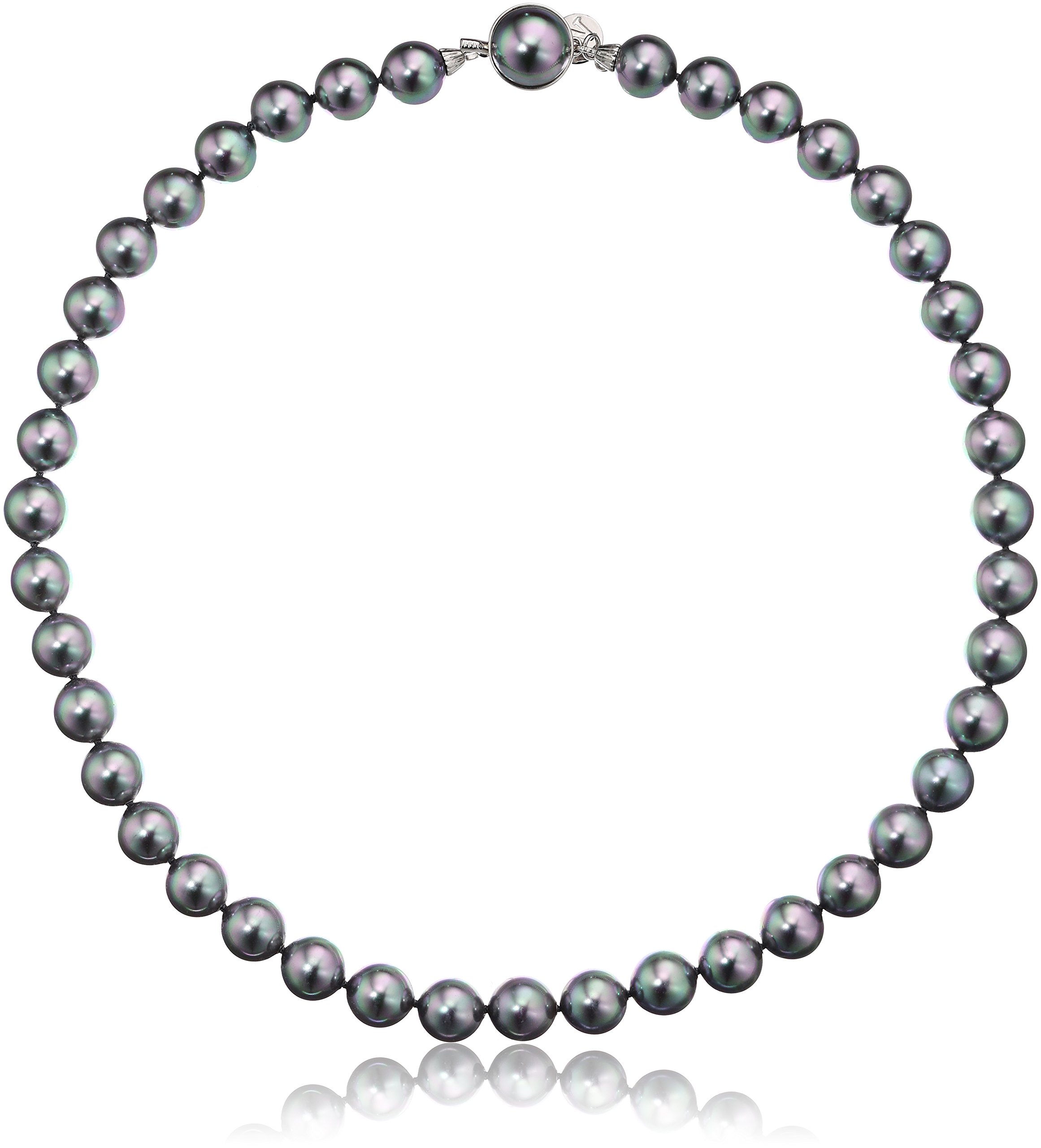 majorica 10mm gray round pearl strand necklace, 17''
