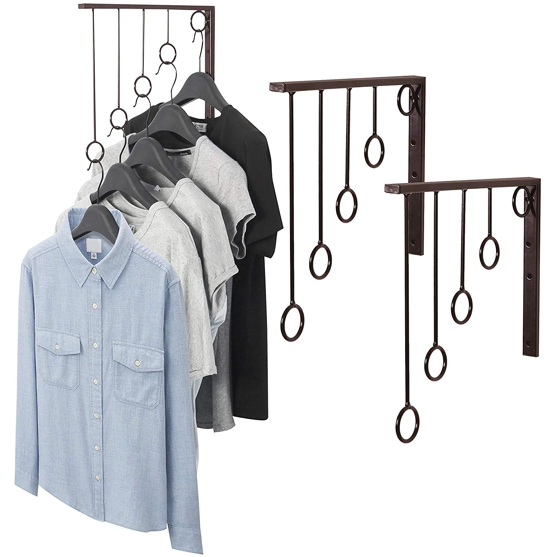 MyGift Wall Mounted Set of 3 Garment Racks, 5 Ring Clothing Organizers, Black SHOMHNK004