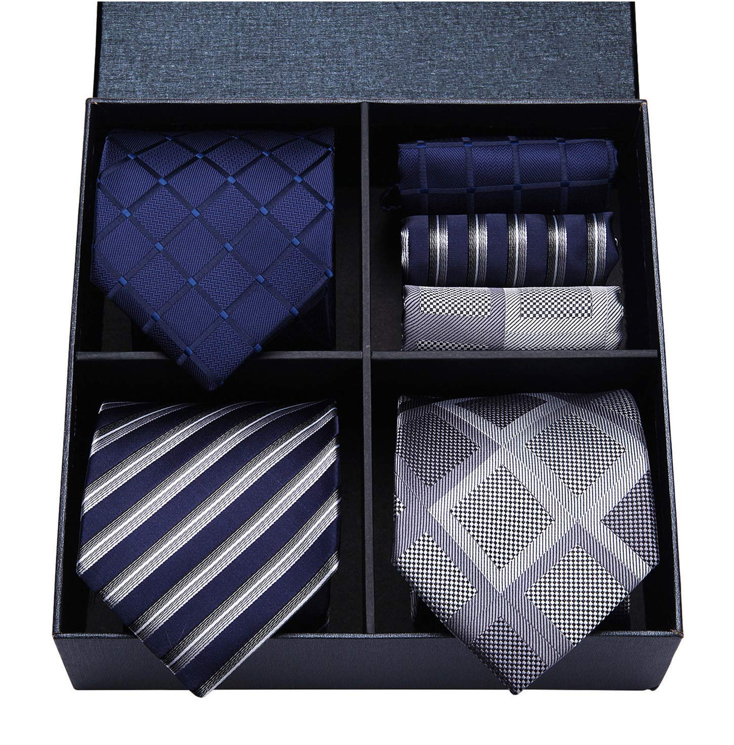 HISDERN Lot 3 PCS Classic Men's Tie Set Necktie & Pocket Square Elegant Neck Ties Collection,T3-10,One Size by HISDERN