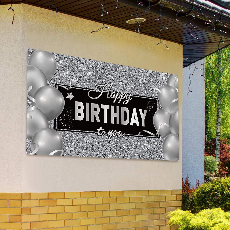 Banni/ère de Toile de Fond Happy Birthday Affiche de Toile de Fond dAnniversaire Ballons Gris Paillet/és D/écorations de F/ête de Fond Photographie pour Anniversaire 72,8 x 43,3 Pouces