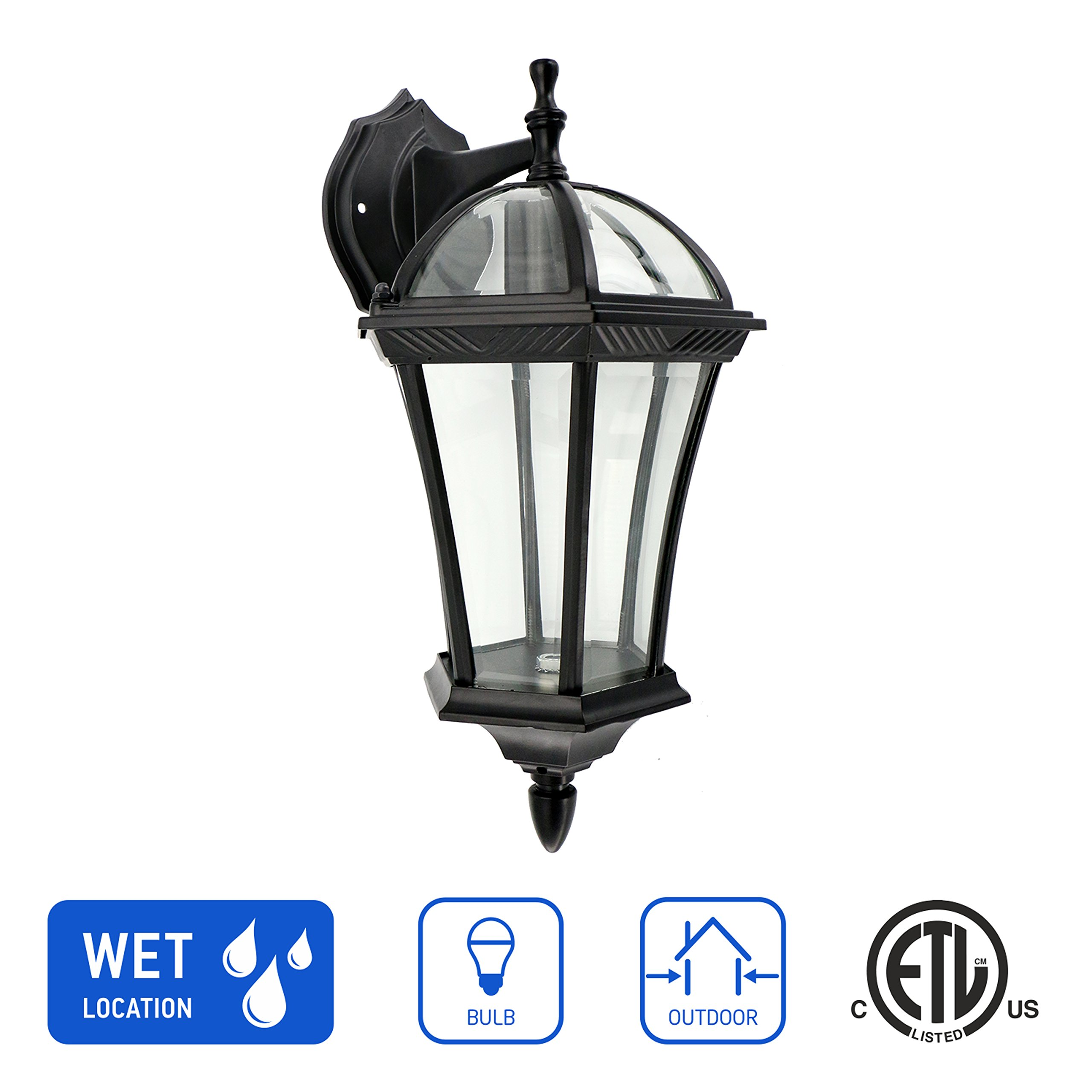 in Home 1-Light Outdoor Wall Mount Lantern Downward Fixture L06 Series Traditional Design Black Finish, Clear Glass Shade, ETL Listed