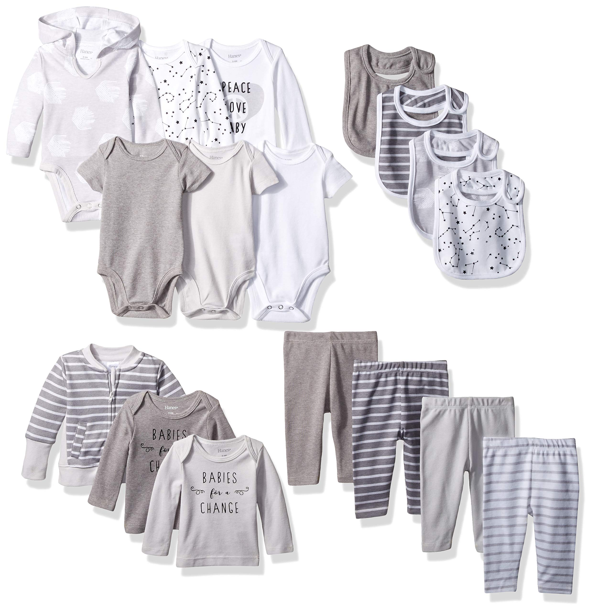 Hanes Ultimate Baby Flexy-17 Piece Cool Weather Essentials Set, Grey, 6-12 Months by Hanes