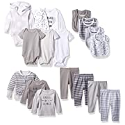 Hanes Ultimate Baby Flexy-17 Piece Cool Weather Essentials Set, Grey, 0-6 Months