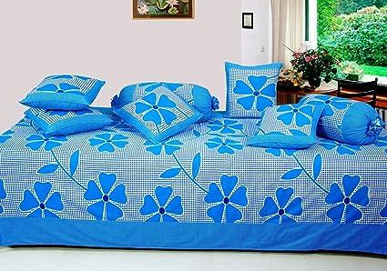Hargunz 8 Piece Floral Cotton Diwan Set-Blue Diwan Sets at amazon