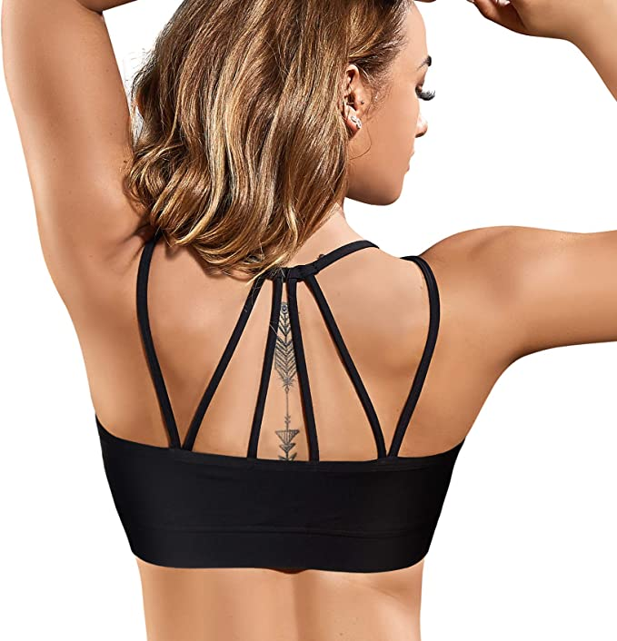 Rolewpy Strappy Women Sport Bra with Removable Padded Racerback Bralette Medium Support Running Yoga Bra Top