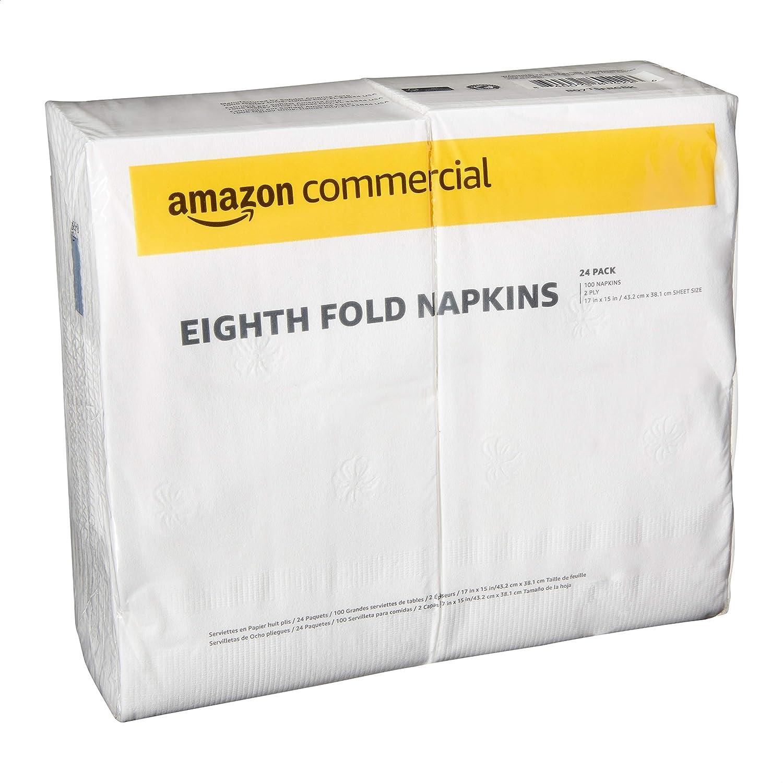 AmazonCommercial Eighth Fold Dinner Napkins, 100 Napkins per Pack, 24 Packs