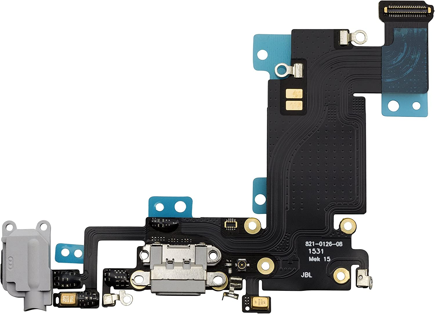 COHK USB Charging Port Dock Flex Cable with Microphone and Headphone Audio Jack Replacement for iPhone 6s Plus 5.5 inchs Grey
