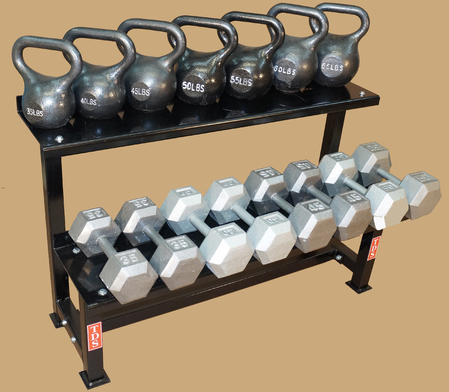 TDS Fitness 48'' Rack with Kettlebell & Hex Dumbell Pkg by New York Barbells